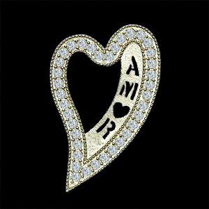 Real Diamond Amor Yellow Gold Heart Shaped Pendant
