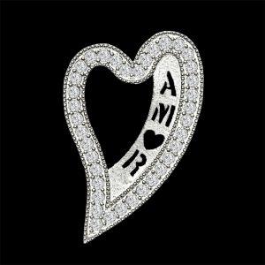 Real Diamond Amor White Gold Heart Shaped Pendant