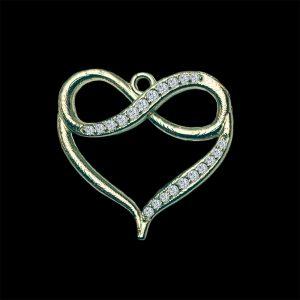 Real Diamond Yellow Gold Infinity Heart Pendant