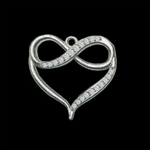 Real Diamond White Gold Infinity Heart Pendant