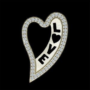 Real Diamond Love Yellow Gold Heart Shaped Pendant